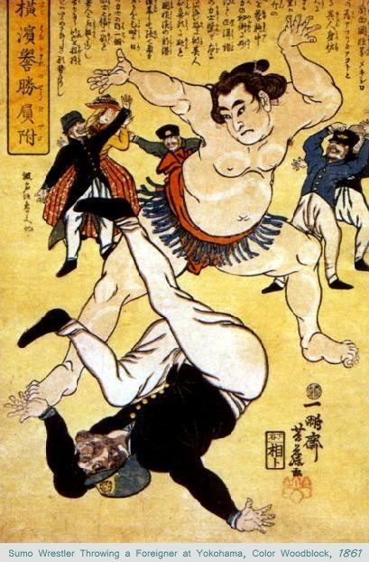 Sumo Wrestler Throwing a Foreigner at Yokohama, Color Woodblock, 1861