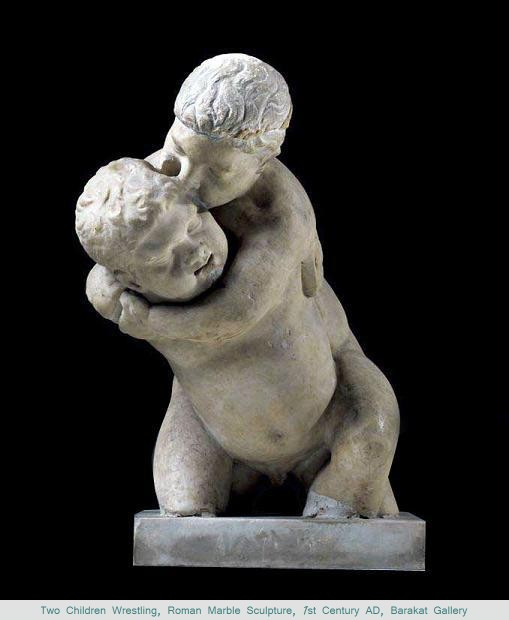 Two Children Wrestling, Roman Marble Sculpture, 1st Century AD, Barakat Gallery