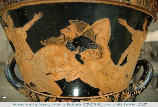 Bibi Saint-Pol's 2007 photo of Euphronios' Heracles wrestling Antaeus, 515-510 BC