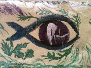 FishEye, part of a shamanic mask, by Luisetta Mudie